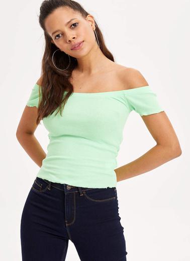DeFacto Carmen Yaka Slim Fit T-shirt Yeşil
